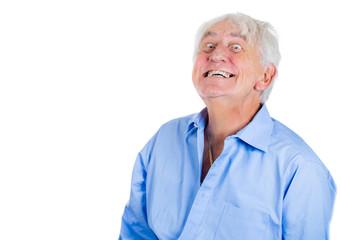 Crazy, confused, agitated, unhinged elderly, senior man