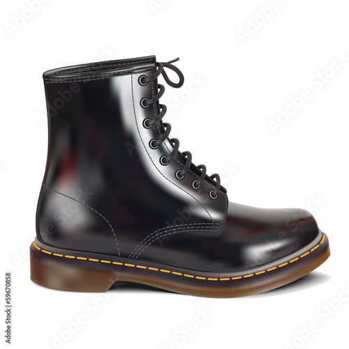 New black leather boot. Realistic Vector illustration. Isolated