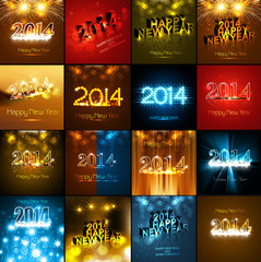 Happy New Year beautiful collection holiday greeting card bright