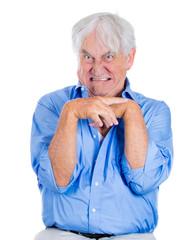Crazy, agitated, unhinged, angry elderly, senior man