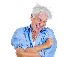 Crazy, agitated, unhinged elderly, senior man, laughting