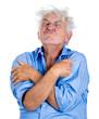 Crazy, upset, agitated, unhinged elderly, senior man