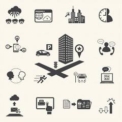 Business meeting and Cloud computing icons set. Vector