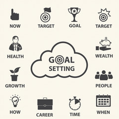 Smart goal setting. Vector icons set.