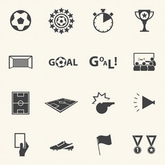 Soccer icons set with texture background. Vector