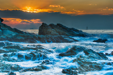 Rough seas at dusk