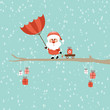 Santa Red Umbrella Storm Rain Retro
