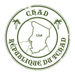 Grunge rubber stamp with the name and map of Chad