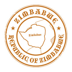 Grunge rubber stamp with the name and map of Zimbabwe