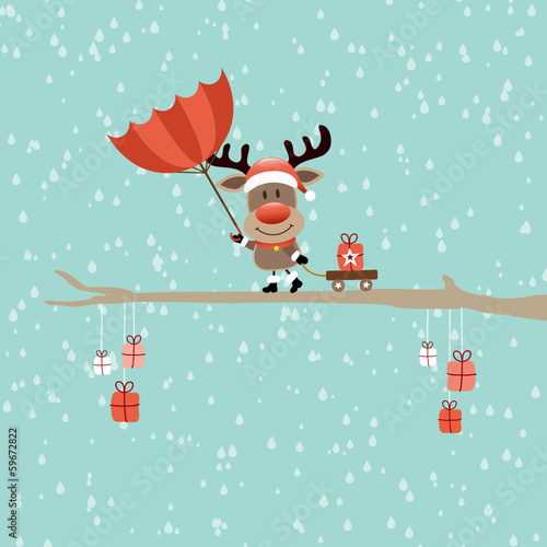 Rudolph Red Umbrella Storm Rain Retro