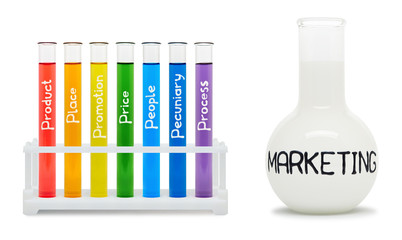 Formula of marketing. Concept with colored flasks. Clipping path