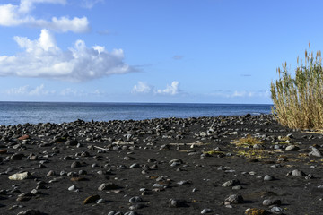 Black sand beach in Flores, Azores archipelago (Portugal)