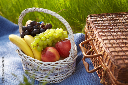 Picnic in the garden. Basket with fruits.