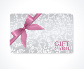 Gift card, discount card, coupon. Silver floral pattern, bow