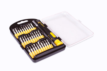 Screwdriver set on white background