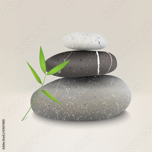 Vector illustration of stones with bamboo leaf
