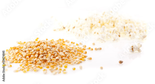 Seed corn and pop corn on a white background