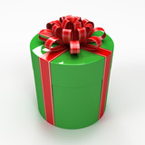Green cylindrical gift box with red ribbon