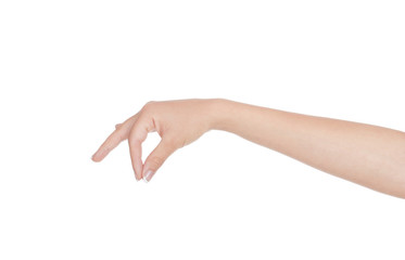 hand holding something on a white background