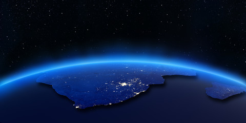 South Africa and Madagascar city lights map