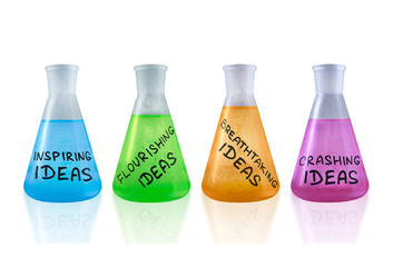 Set of conceptual flasks with creative reagents.