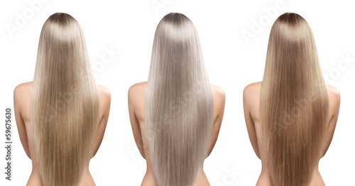 Hair coloring. Blond hair tones. Natural straight healthy hair.