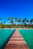 Tropical Resort.  boardwalk on beach