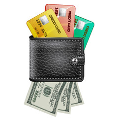 Leather wallet  with credit cards and dollars USA