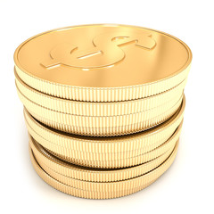 3d golden coins on a white background