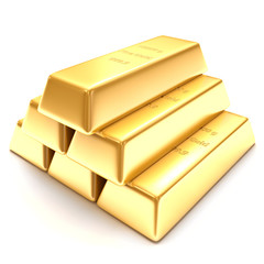 3d golden bars on a white background