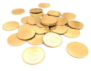 pile of golden coin 3d on a white background