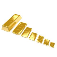 Golden bars on white background