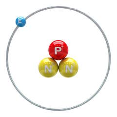 Tritium atom on white background