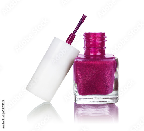 Nail polish isolated on white background