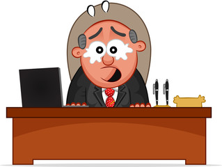 Business Cartoon - Boss Man Crying