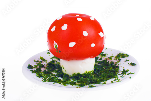 Mushroom shaped egg and tomato