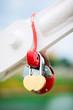 romantic padlock in heart shape on the bridge