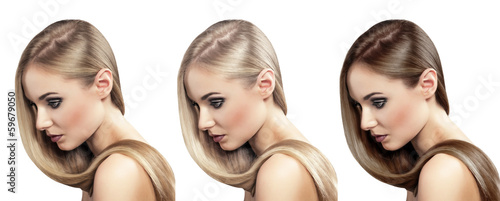 Hair coloring. Beautiful salon model with healthy shiny hair