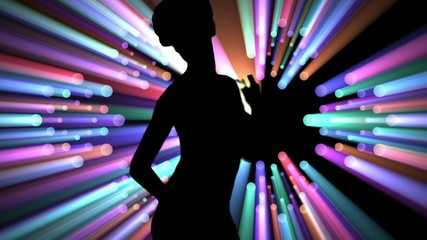 Dancer silhouette with volumetric lights background.