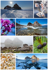 Seasons. Baikal. Shamanka Rock. Collage. Calendar