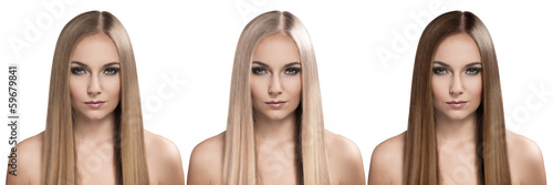 Hair care and coloring. Attractive woman with long hairstyle