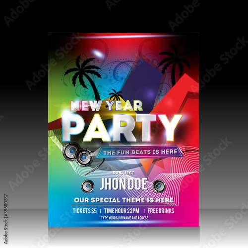 Vector Colorful New Year Party Flyer