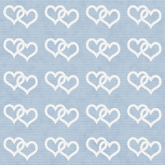White Interwoven Hearts and Blue Thin Stripes Horizontal Texture