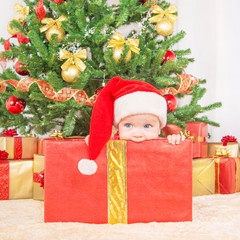 Happy child in christmas hat in gift box against decorated fir t
