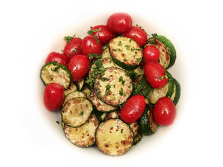 Fried zucchini and tomatoes