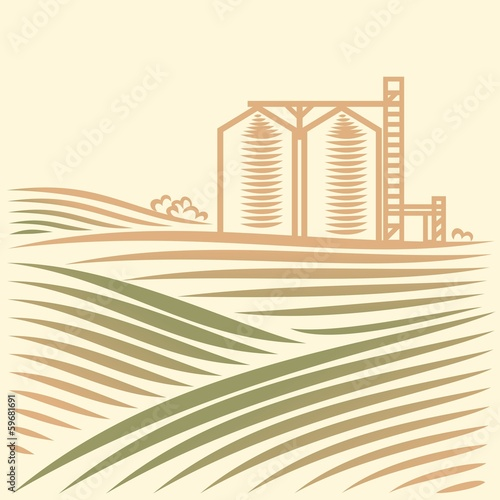 landscape with one Grain Elevator
