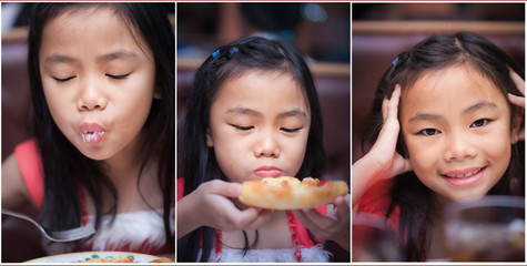 Set of little girl eating pizza and drink