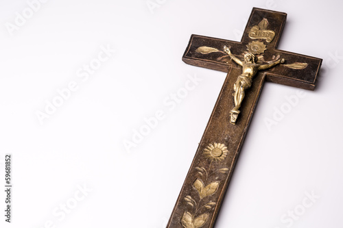 Crucifix with figure of Jesus on white background