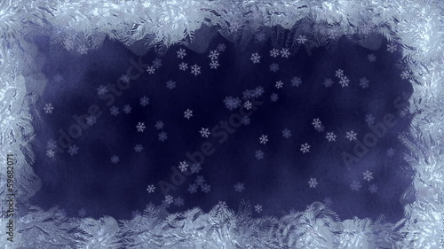 Freeze frame screen with a background of falling snowflakes