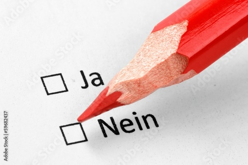 red pencil checking german no checkbox. Closeup on white